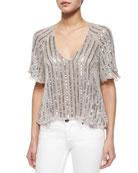 Embellished Chiffon Half-Sleeve Top