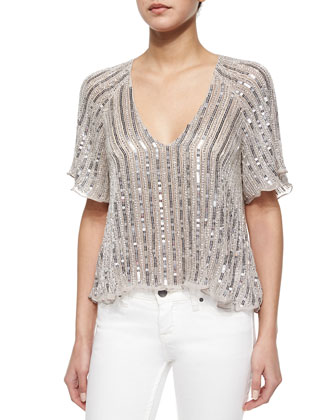Embellished Chiffon Half-Sleeve Top