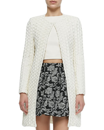 Shay Open-Front Long Cardigan, Helen Lace-Trim Chiffon Tunic & Leather ...