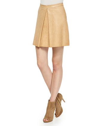 Russo Inverted-Pleat Leather Skirt
