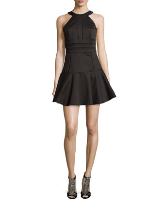 Brady Seamed Flare-Hem Dress