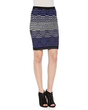 Emperor Stud-Trim Patterned Top & Stud-Trim Knit Skirt