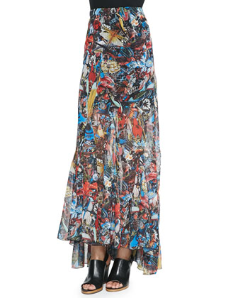 Diana Zip-Front Cropped Shirt & Paige Menagerie-Print Godet Maxi Skirt