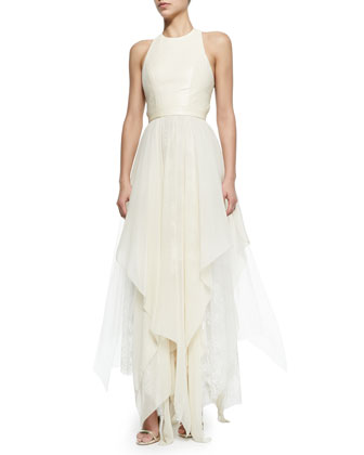 Jennifer Gown with Leather Bodice & Handkerchief Hem