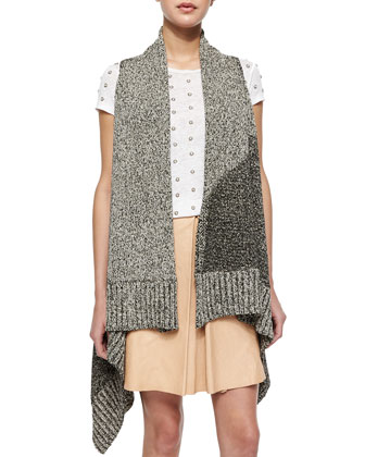 Nessa Mixed-Pattern Long Vest, Robin Embroidered Short-Sleeve Top & Russo ...