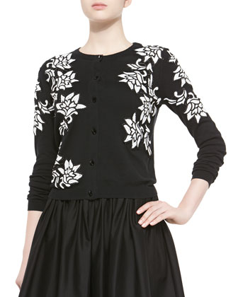 Winnie Beaded Floral-Pattern Cardigan & Misty Mid-Length Sheer-Hem Skirt