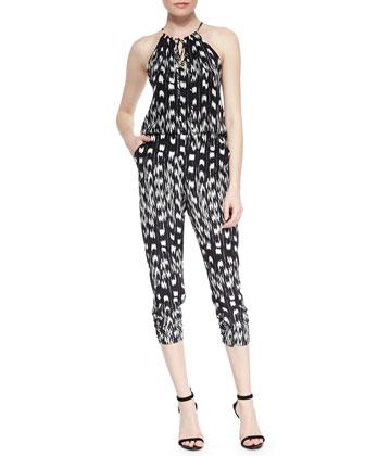 Tasmin Printed Silk Halter Jumpsuit