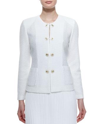 Button-Front Textured Jacket, Women's