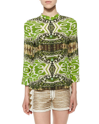 Eloise Garden-Print Silk Blouse & Beaded Back-Zip Leather Shorts