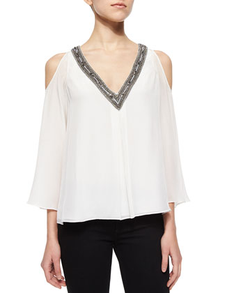 Rivera Beaded V-Neck Blouse