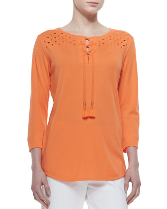 Eyelet Lace-Up Tunic & Slim Ponte Ankle Pants, Petite