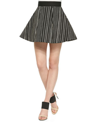 Lea Striped Fitted Sleeveless Blouse & Libby Striped A-Line Skirt
