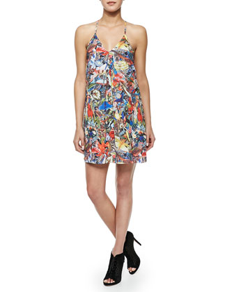 Fierra Menagerie-Print Y-Back Dress