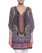Marina Long Printed Tunic, Pink