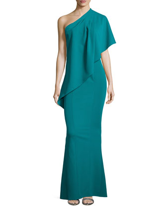 Draped One-Shoulder Mermaid Gown