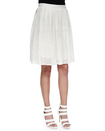 Lissome Pleated Eyelet A-Line Skirt