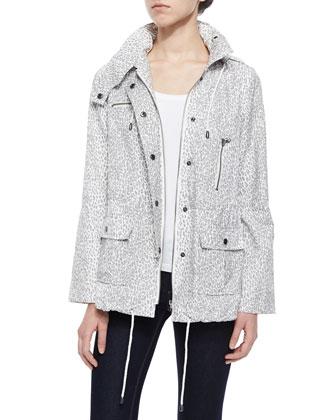 Barker Leopard-Print Tech Jacket