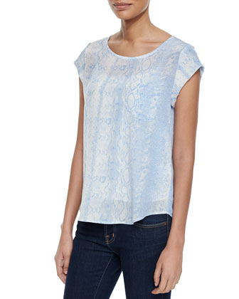 Rancher Silk Snake-Print Top