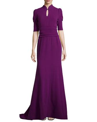 Elbow-Sleeve Keyhole Silk Gown, Amethyst