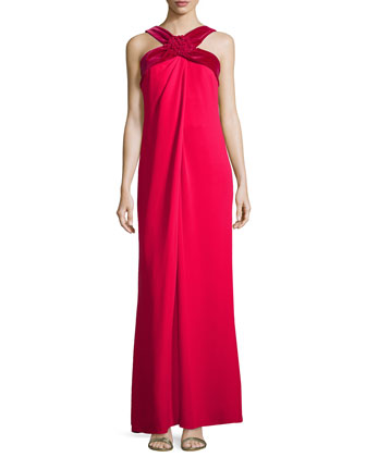 Cross-Neck Silk Empire-Waist Halter Gown