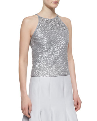 Sequined Halter-Style Tank & Long Pleated Trumpet Skirt