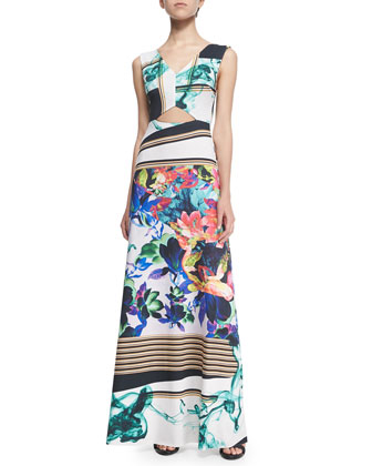 Liquid Jade Printed Cutout Maxi Dress