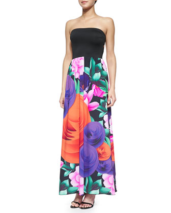 Lotus Garden Strapless Maxi Dress
