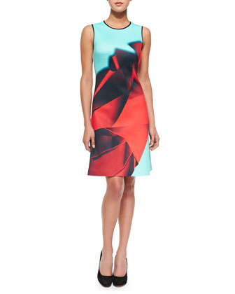 Folded Floral Sleeveless Printed Dress