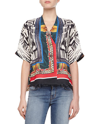 Imperial Markings Short-Sleeve Blouse