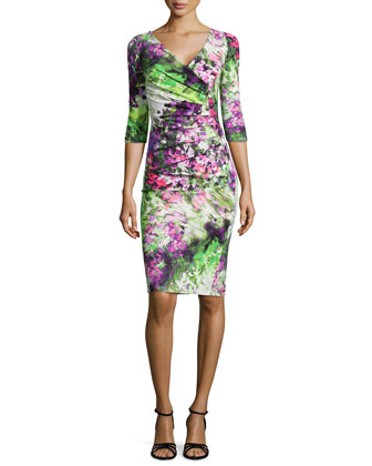 Floral Printed Ruched Cocktail Dress