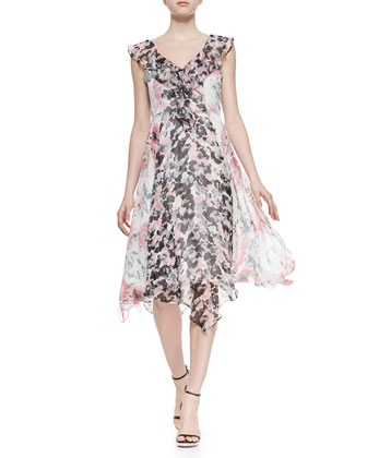 Deuce Mixed-Print Chiffon Dress