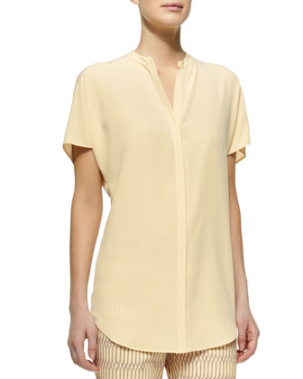Short-Sleeve Sandwashed Silk Blouse, Cornsilk