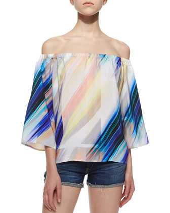 Whisper-Print Off-the-Shoulder Silk Blouse, Multicolor