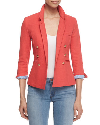 Rumpled Crepe Military Blazer, Nantucket Red