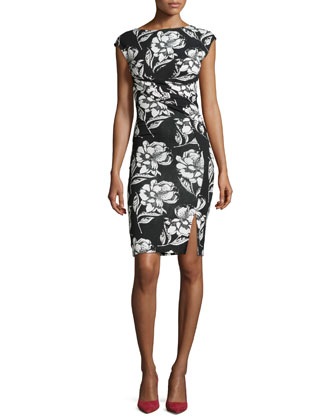 Shadow Bloom Fitted Printed Dress