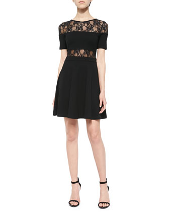 Short-Sleeve Knit & Lace Dress