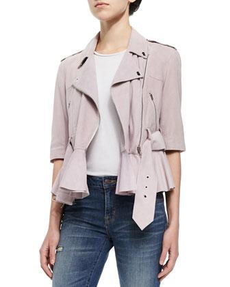 Soft Suede Tie-Waist Jacket