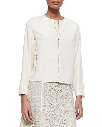 Gibson Luxe Stretch Crepe Jacket & Essie Sleeveless Lace Dress