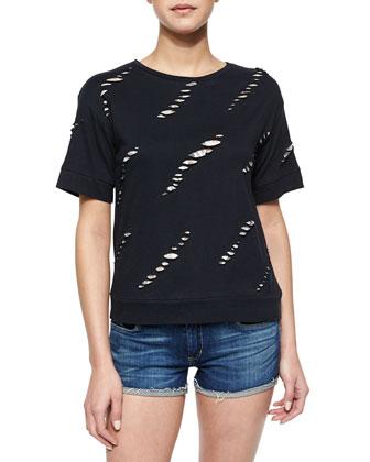 Slashed Knit/Lace Short-Sleeve Sweatshirt