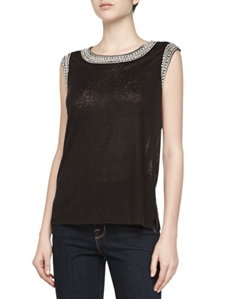 Beaded-Trim Sleeveless Slub Linen Top