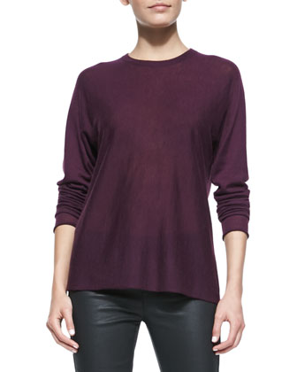 Dolman-Sleeve Cashair Sweater, Burgundy