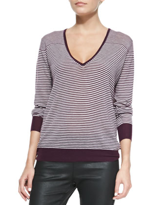 Cashair Striped V-Neck Sweater