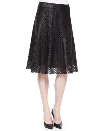Eldora Patterned Suiting Vest & Bhima Laser-Cut Leather Skirt