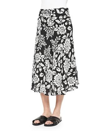 Follett Floral-Print Midi Skirt