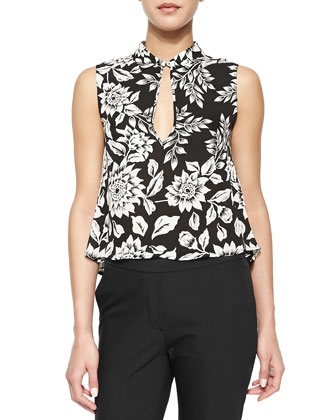 Kenzly Floral-Print Sleeveless Blouse & Thaniel Cropped Straight-Leg Pants