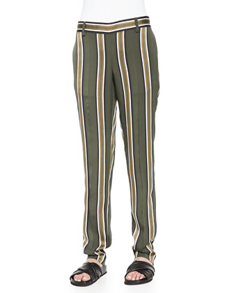 Izidora Sleeveless Layered Georgette Top & Termin Striped Straight-Leg Pants