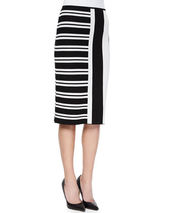 Seblyn Mixed-Stripe Knit Top & Efersten Mixed-Stripe Knit Skirt