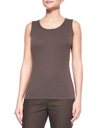 Opulent Cotton-Blend Scoop-Neck Tank, Granite