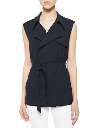 Nieto Tie-Waist Trench Vest, Yarine Sleeveless Chambray Top & Onark Pleated ...