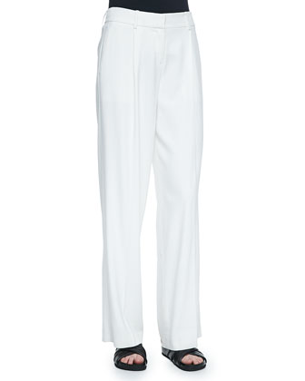Onark Pleated Wide-Leg Crepe Pants